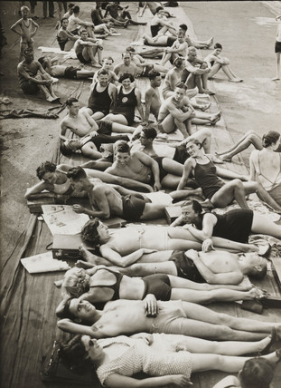 Sunbathers at the lido, 14 September 1934.