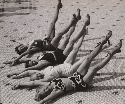 Catching the sun at the open air baths in Blackpool.