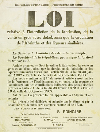 Proclamation banning absinthe, 1915.