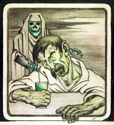 'Absinthe is Death', c 1900.