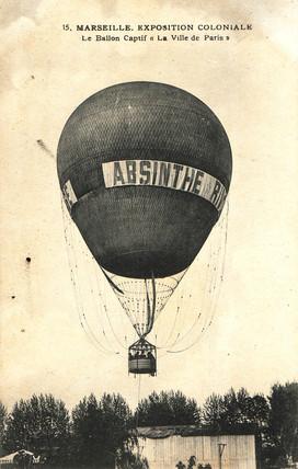 Hot air balloon advertising Absinthe Rivoire, 1900.