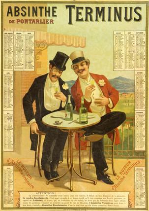Calendar advertising Absinthe Terminus, 1894.
