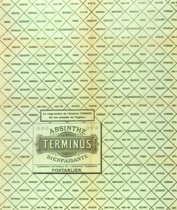 Absinthe Terminus wrapper, c 1900.