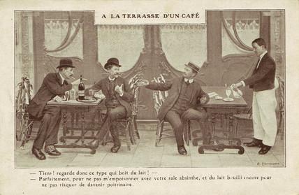 Absinthe versus milk, c 1900.