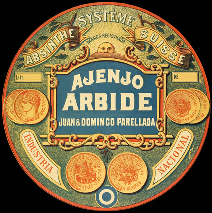 Ajenjo Arbide absinthe label, 1890.