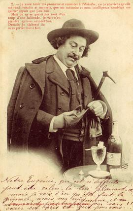 Absinthe drinker postcard, 1900.