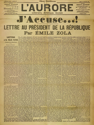 'J'Accuse' by Emile Zola, 13 January 1898.