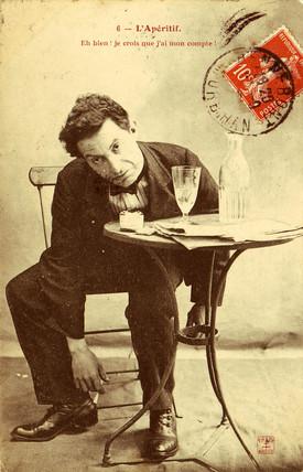 'L'Aperitif' postcard no 6, 1900.