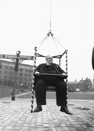 Cyril Smith testing a new type of rope, December 1987.