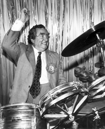 Dennis Healey playing the drums, June 1983.