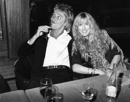 Rod Stewart and Alana at the Sheraton, Zurich, 1980s.