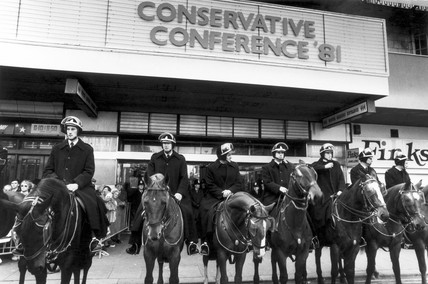 Riot police guarding the Conservative Party Conference, 1981.