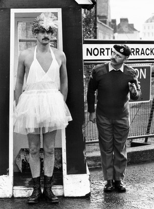 Soldier dressed in drag for charity, January 1988.