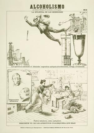 'Alcoholismo' - Spanish anti-absinthe poster, c 1900.