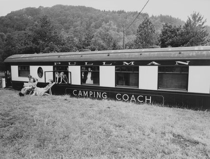 Pullman camping coach, Betws-y-Coed, Wales, 28 July 1960.