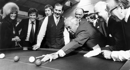 Harold Wilson playing snooker, September 1975.