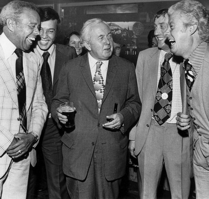 Harold Wilson, Charlie Williams and Danny La Rue, September 1975.
