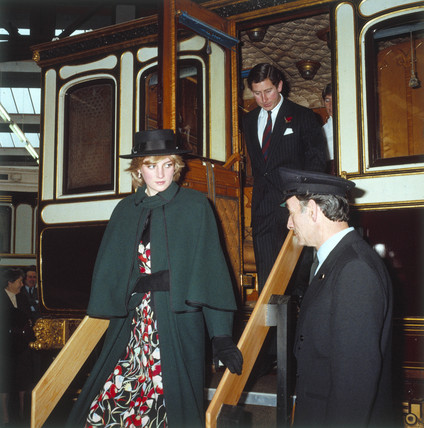 Prince and Princess of Wales, National Railway Museum, c 1980s.
