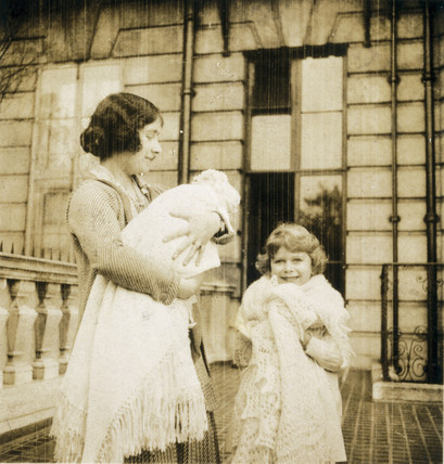 The Duchess of York with the two princesses, 1929-1930.