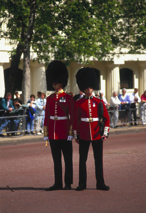 Members of the Queen's Guard, London, 1990s.