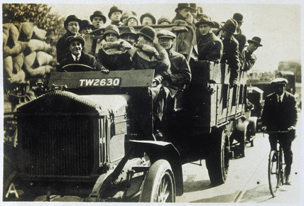 Passengers on a lorry, 1926.