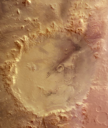 Crater Galle, the 'happy face' on Mars, c 2004-2006.