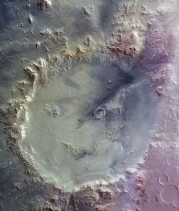 False-colour mosaic of Crater Galle on Mars, c 2004-2006.