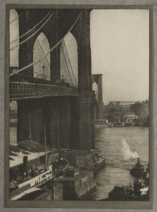 'Brooklyn Bridge, from a Roof-Top', New York, c 1910.