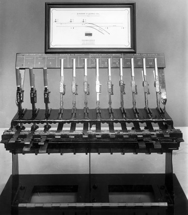 Stevens' 12-lever signal interlocking frame, late 19th century.
