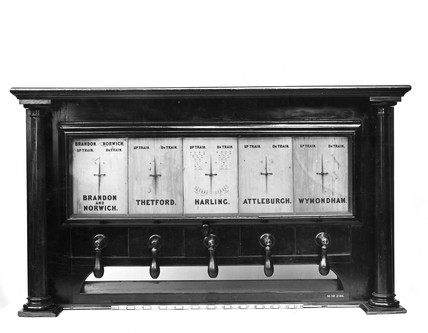 Cooke's block signalling instrument, Norfolk Railway, 1845.