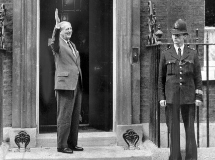 Harold Macmillan outside No 10 Downing Street, London, October 1959.