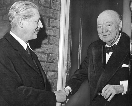Harold Macmillan and Winston Churchill, January 1957.