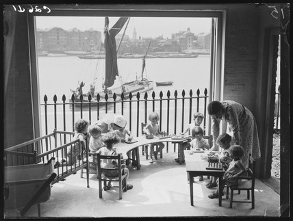 Children at the Port of London Day Nursery, Wapping, London, 1933.