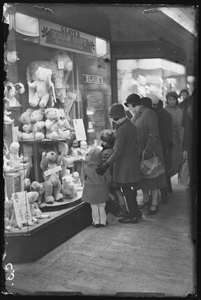 Christmas shopping for toys in Oxford Street, London, 1932.