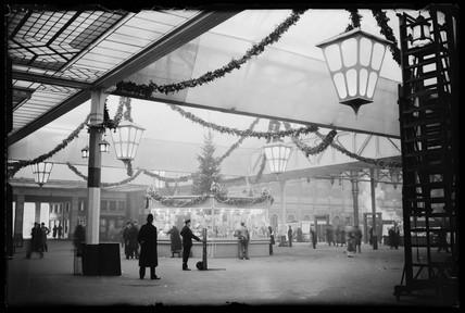 Paddington Station decorated for Christmas, London, 1933.