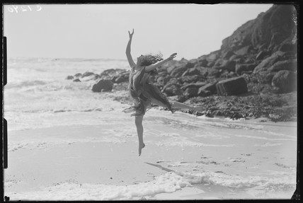 Miss Phyllis Fildes dancing on the beach, Porthgwarra, Cornwall, 1933.