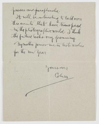 Letter from Alvin Langdon Coburn to J Dudley Johnston, 1909.