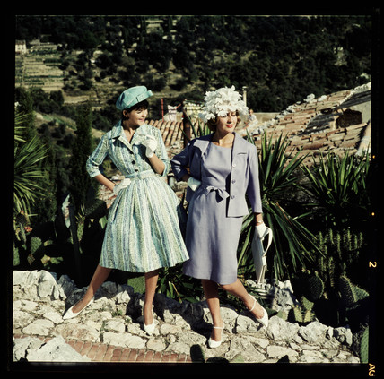 Two women wearing hats, 1960s.