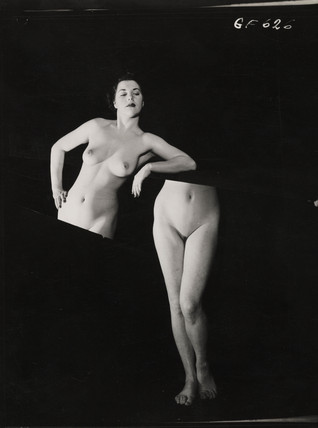 Nude study: woman cut in half, 1960s.