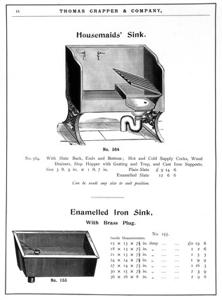 A 'Housemaids' Sink' and an 'Enamelled Iron