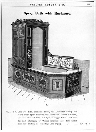 'Spray Bath with Enclosure'. An engraving f