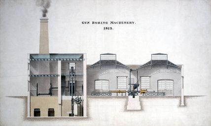 Gun boring machinery, Rio de Janeiro, Brazil, 1813.