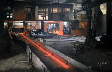 Rolling steel for shells, Penistone Steel Works, South Yorkshire, 1914-1918.