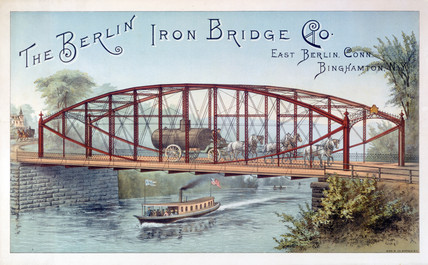 Bowstring Girder Bridge, Binghamton, New York, United States, c 1870.