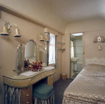 Bedroom, Royal Saloon, Great Western Railway carriage no 9006, 1945.