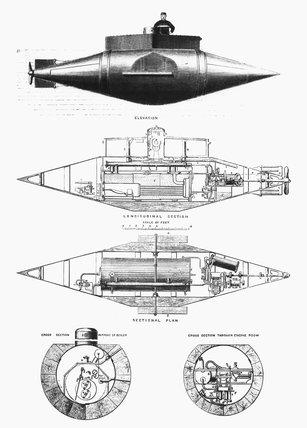 Garret's submarine boat 'Resurgam', 1879.