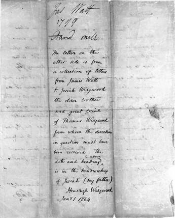 Letter from James Watt to Josiah Wedgwood, 1799.