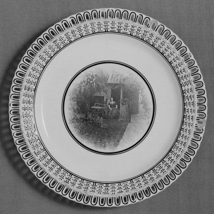 Minton earthenware plate with photo-ceramic centre, 1882.