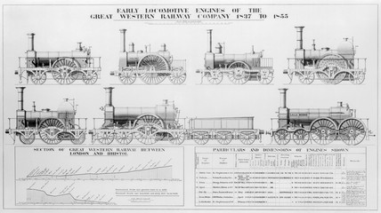 Early locomotives engines of the Great Western Railway Company, 1837-1855.