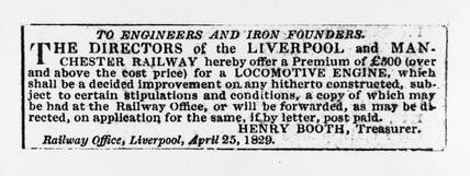 Liverpool Mercury' advertisement for locomotive engine, 1829.